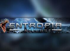 Картинка на оформление для канала ютуб с текстом Entropia Universe на фоне космоса и дракона.