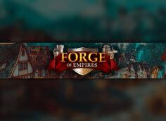 Картинка для ютуба зелёного цвета с надписью Forge of Empires.