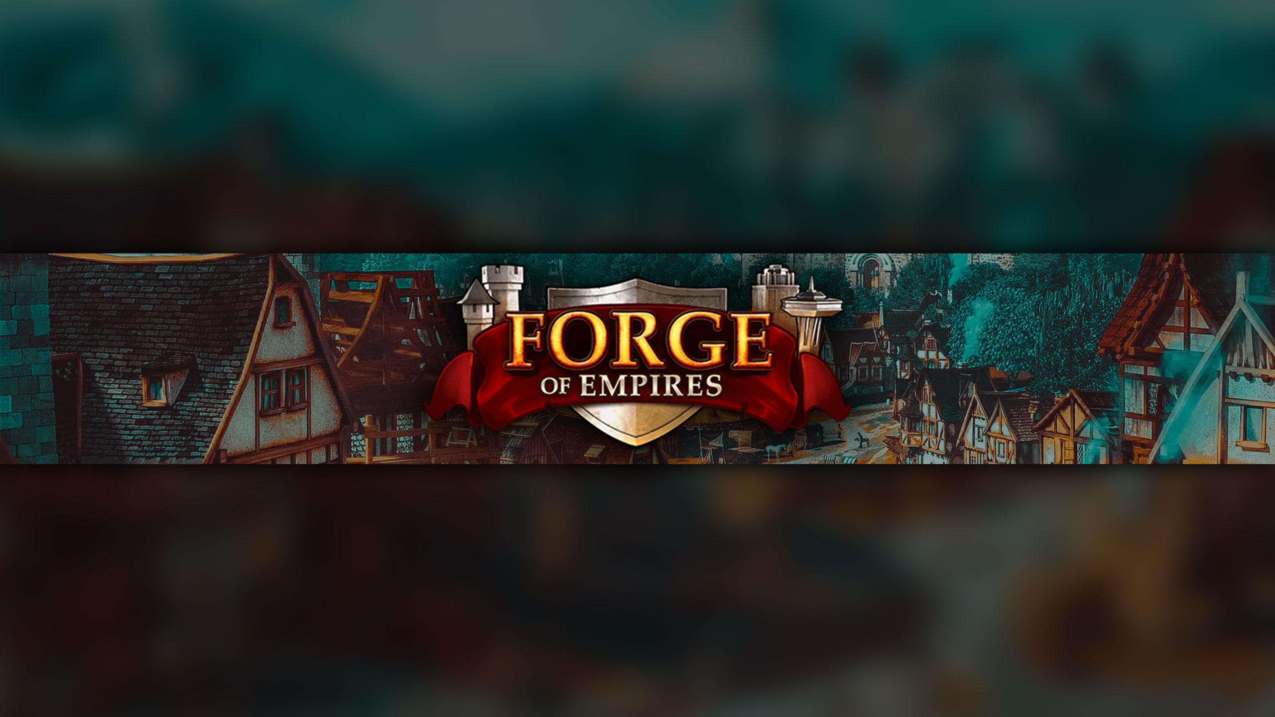 Картинка для ютуба фон зелёного цвета с надписью Forge of Empires для игрового баннера.