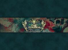 Картинка на оформление для ютуба в виде флага на зелёном фоне с пятнами красной крови и персонажем и логотипом игры Jade Goddess.