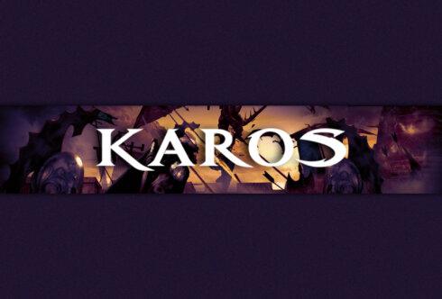 Картинка с надписью и пурпурный фон для канала с логотипом игры Karos.