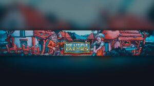 Картинка фон для шапки канала с названием игры My Little Farmies на фоне деревенских домов и персонажей игры.
