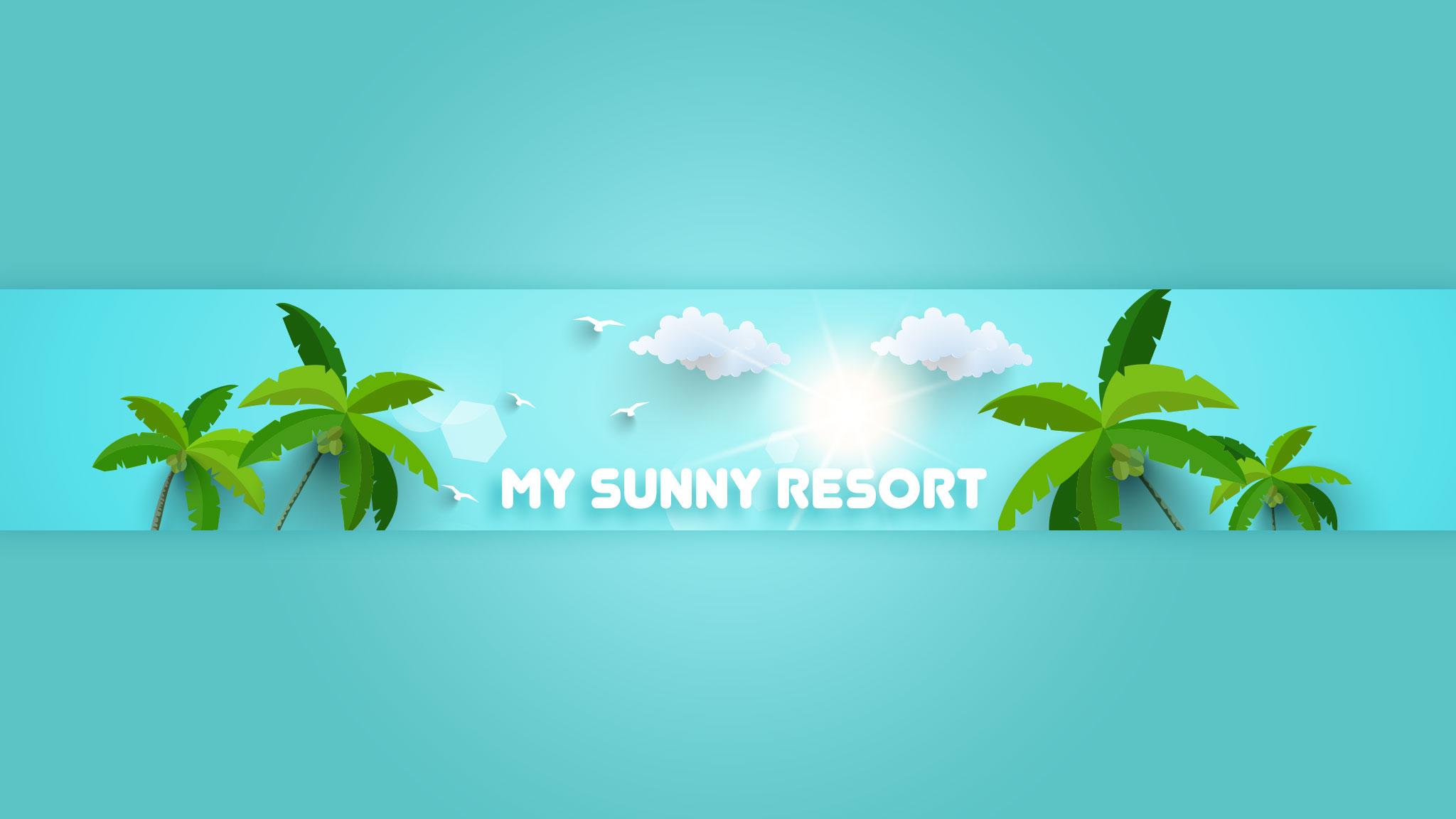 Картинка зелёного цвета с текстом: banner youtube 2048x1152 по игре My Sunny Resort с пальмами и облачным небом.