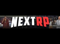 Чёрная шапка игрового канала с логотипом Nextrp и персонажами игры.