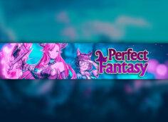 Картинка пурпурный фон для ютуб шапки с розовыми персонажами и названием игры Perfect Fantasy.
