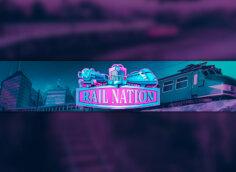 Пурпурная картинка с розовым логотипом Rail Nation и поездом.