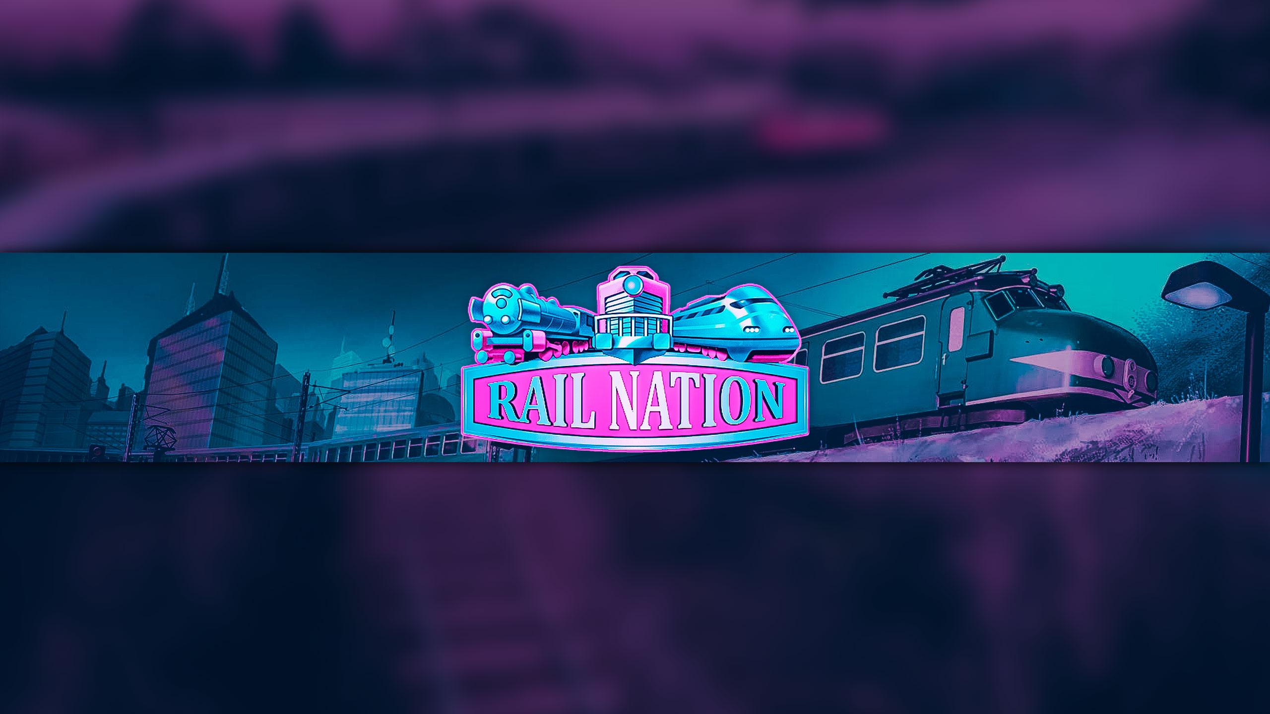 Пурпурная картинка на шапку для ютуб канала 2560x1440 с розовым логотипом Rail Nation и поездом и зданием на заднем фоне.