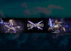 Фиолетовая картинка с персонажами компьютерной игры Soul Sword.