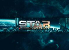 Голубой космический горизонт с элементами космического корабля и надписью Star Conflict.