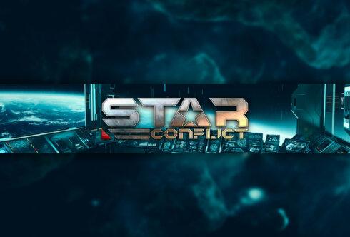 Картинка игровая шапка для канала: голубой космический горизонт с элементами космического корабля и надписью Star Conflict.