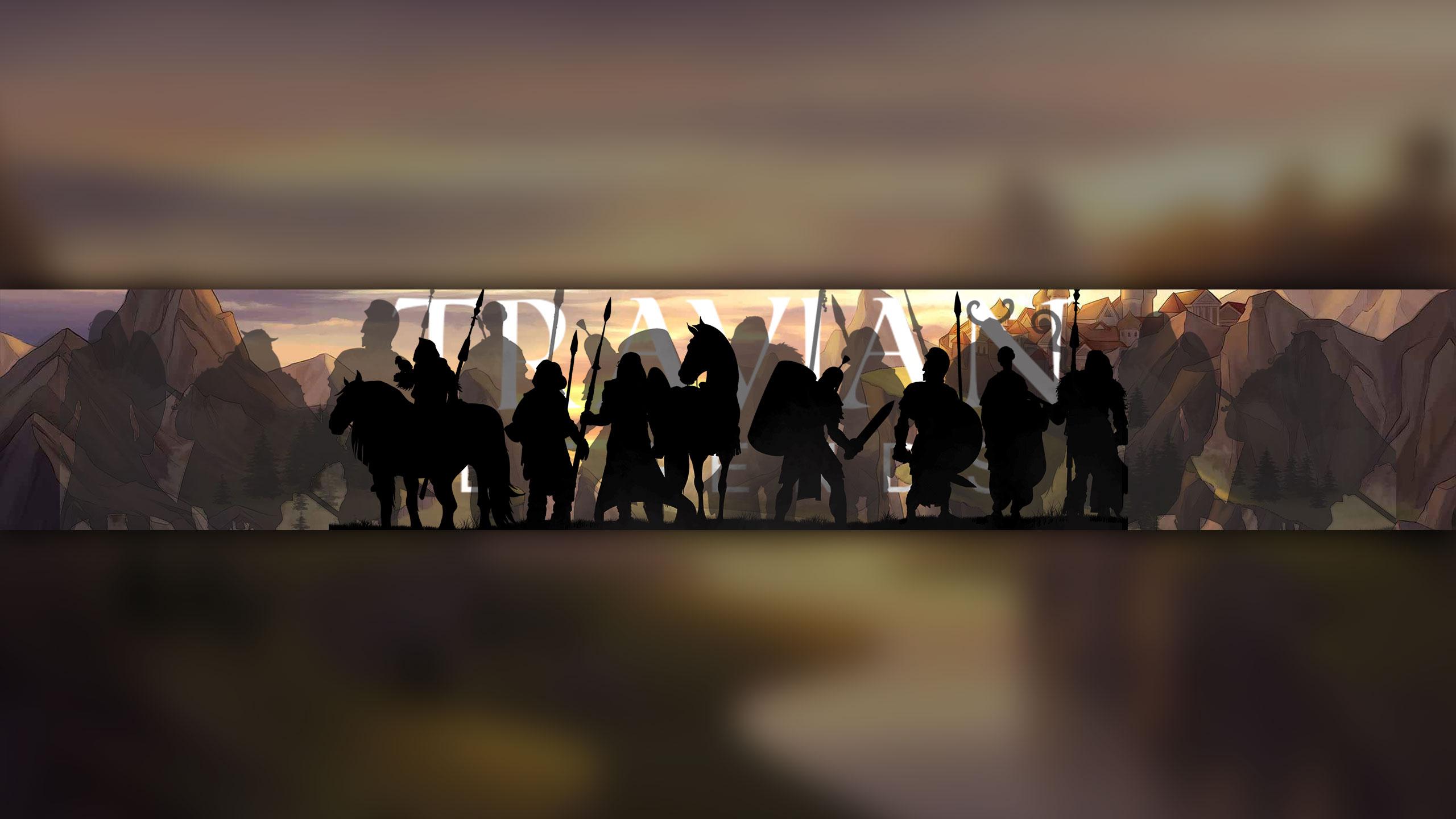 Картинка шапка для ютуб канала 2560x1440 без текста с толпой людей и лошадей на фоне пейзажа античного города по игре Travian Legends.