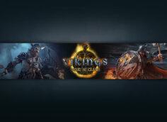 Тёмная обложка для ютуб канала с текстом Vikings: War of Clans и персонажами игры.