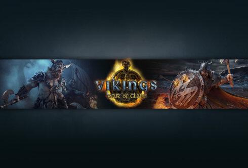 Картинка тёмная обложка для ютуб канала с текстом Vikings: War of Clans и персонажами игры на фоне ночного неба и моря.