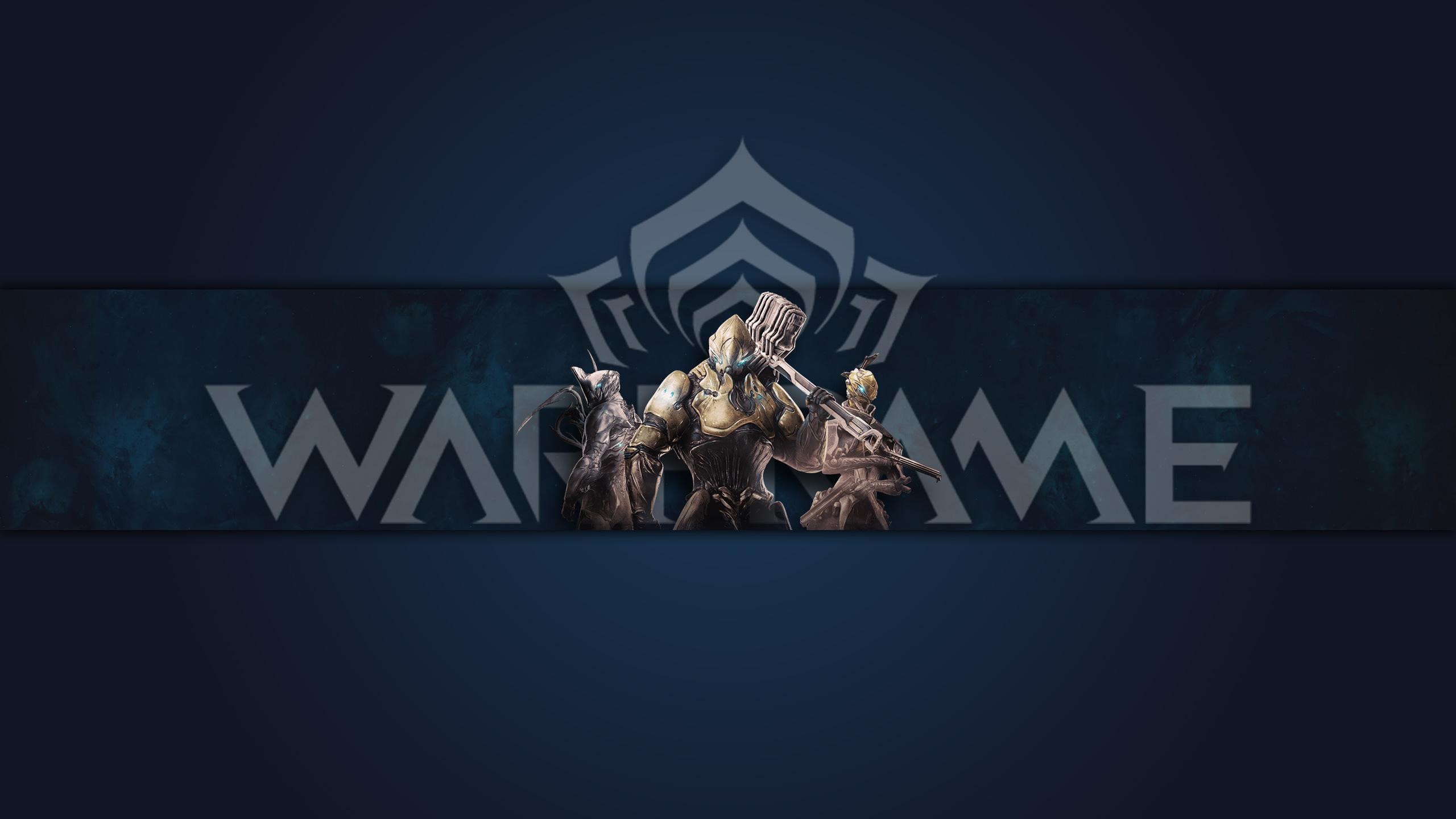 Картинка темно синий фон для игровой шапки ютуба с текстом warframe и логотипом фортуна