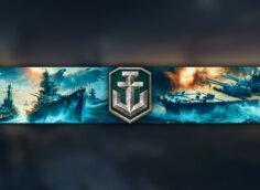 Синее море и боевые морские корабли с логотипом игры World of Warships.