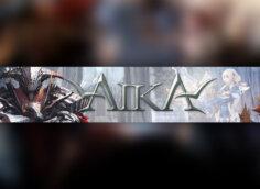 Картинка с текстом - обложка для ютуб канала 2048 1152 AIKA 2 Online с фантастическими персонажами игры.