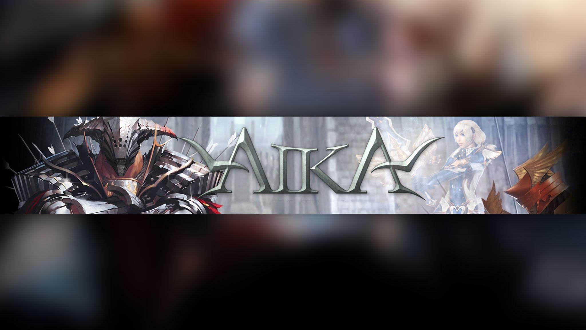 Обложка для ютуб канала с надписью AIKA с фантастическими персонажами игры.