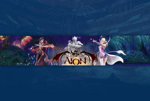 Картинка синего цвета - обложка для ютуб канала 2048 1152 с персонажами игры Aion на фоне сказочного пейзажа.