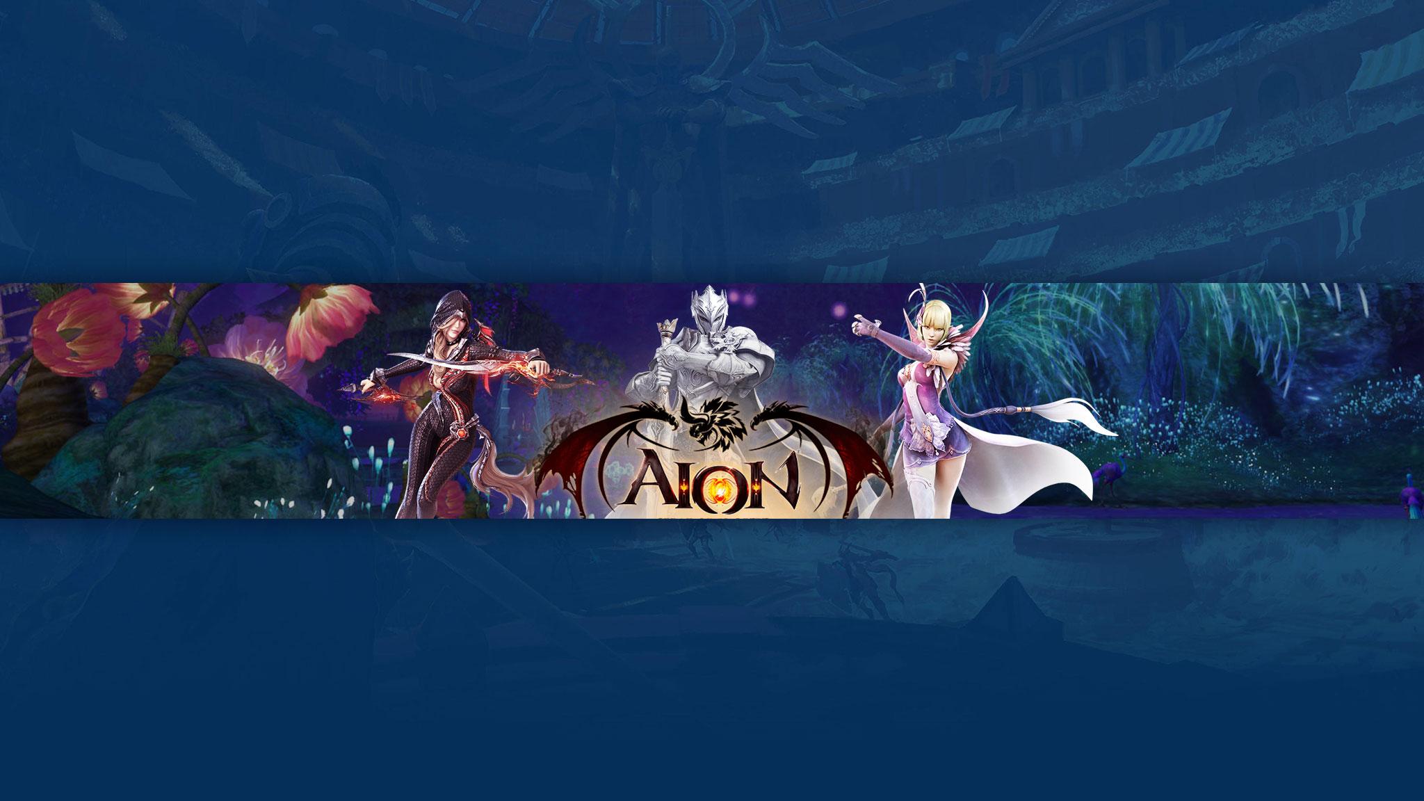 Синяя обложка для ютуб канала с персонажами игры Aion на фоне сказочного пейзажа.