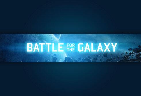 Картинка с неоновым текстом Battle for the Galaxy - готовая шапка для канала youtube голубого цвета на фоне космического пейзажа с планетами на горизонте.
