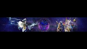 Картинка фиолетовый баннер для ютуба 2048 1152 с персонажами аниме и текстом Blade and Soul.