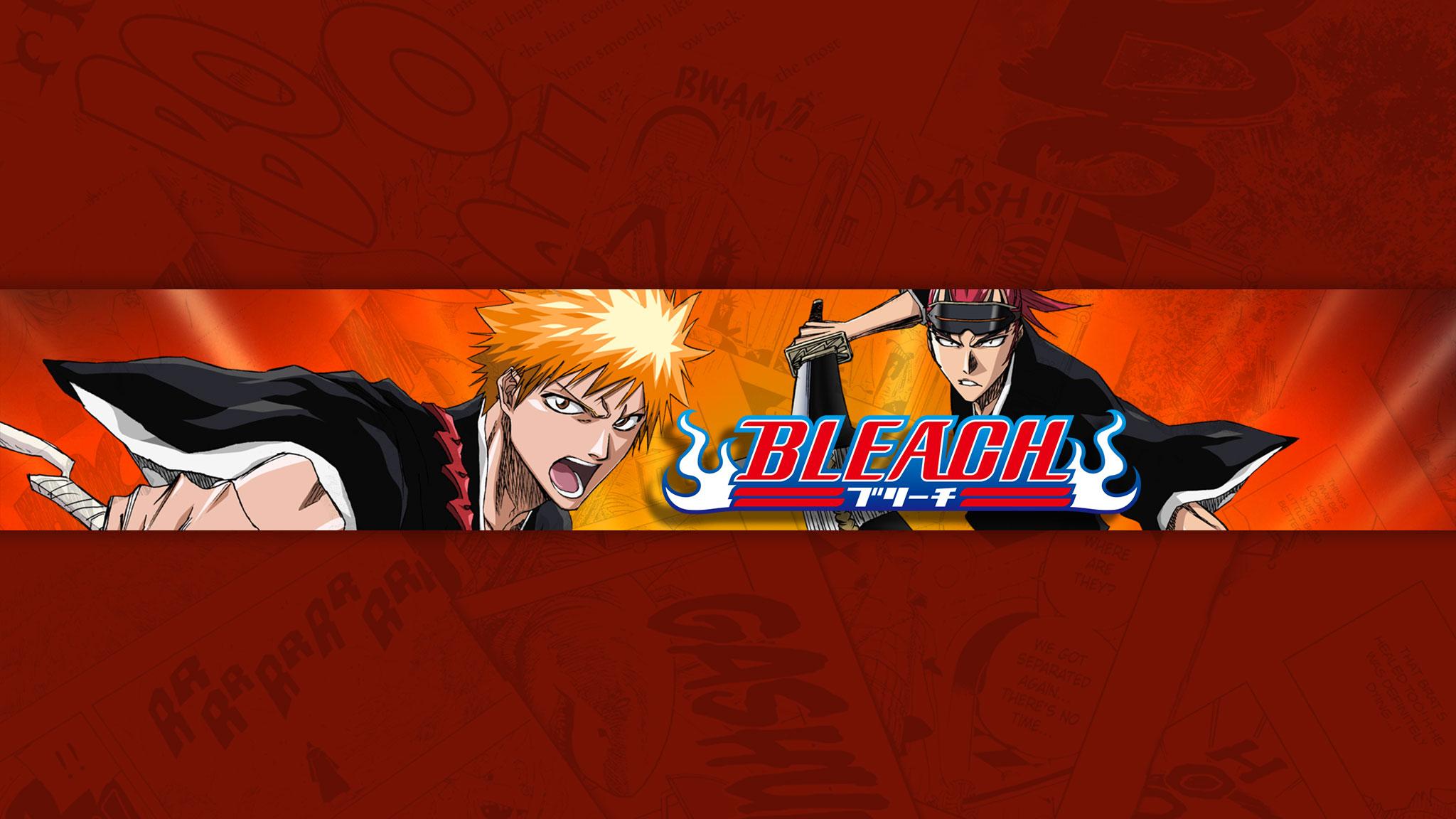 Картинка в стиле аниме - обложка для ютуб канала 2048 1152 по манге Bleach с персонажами на оранжевом фоне.