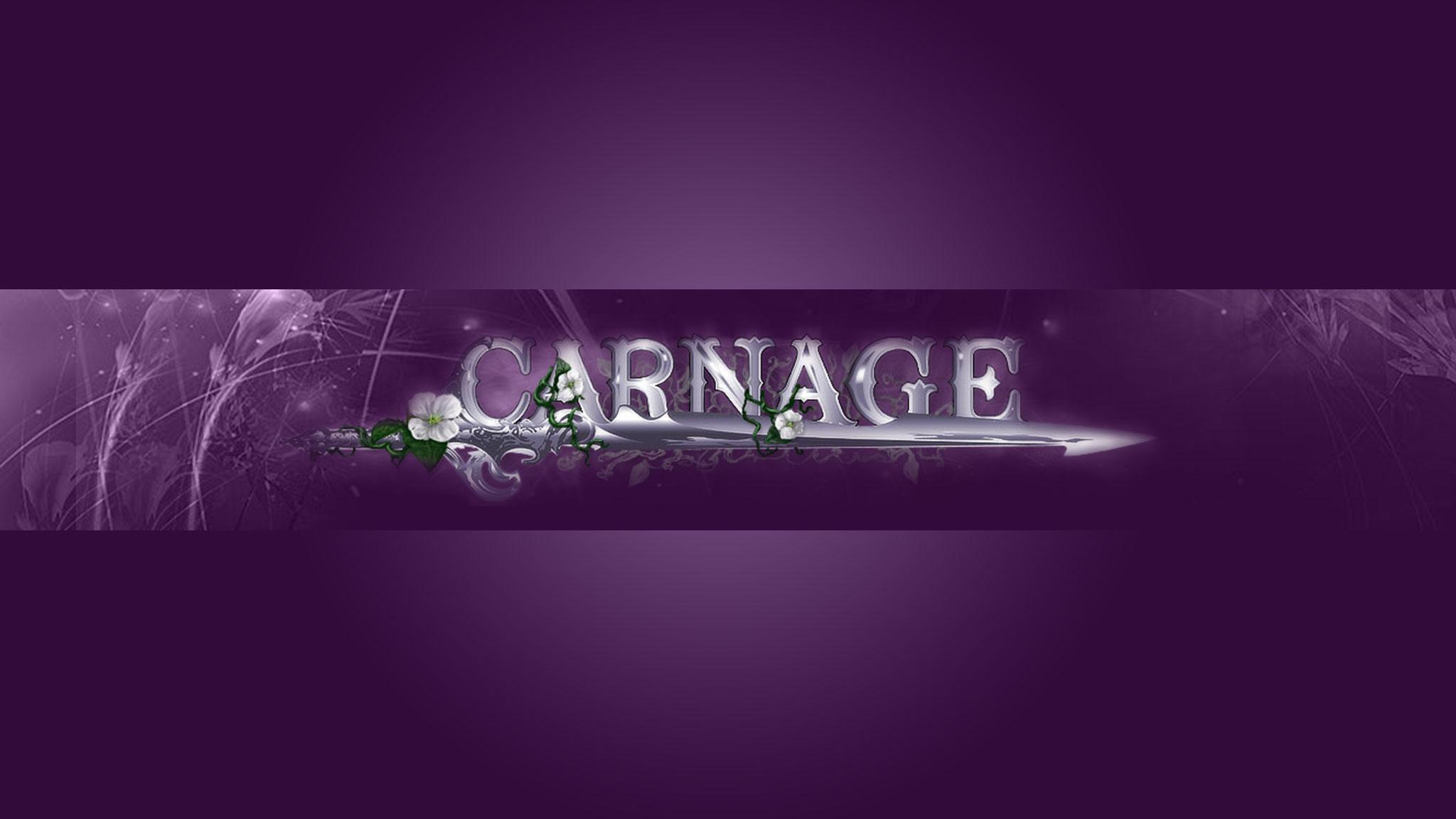 Картинка фиолетовая обложка для ютуб канала 2048 1152 с названием игры Carnage.