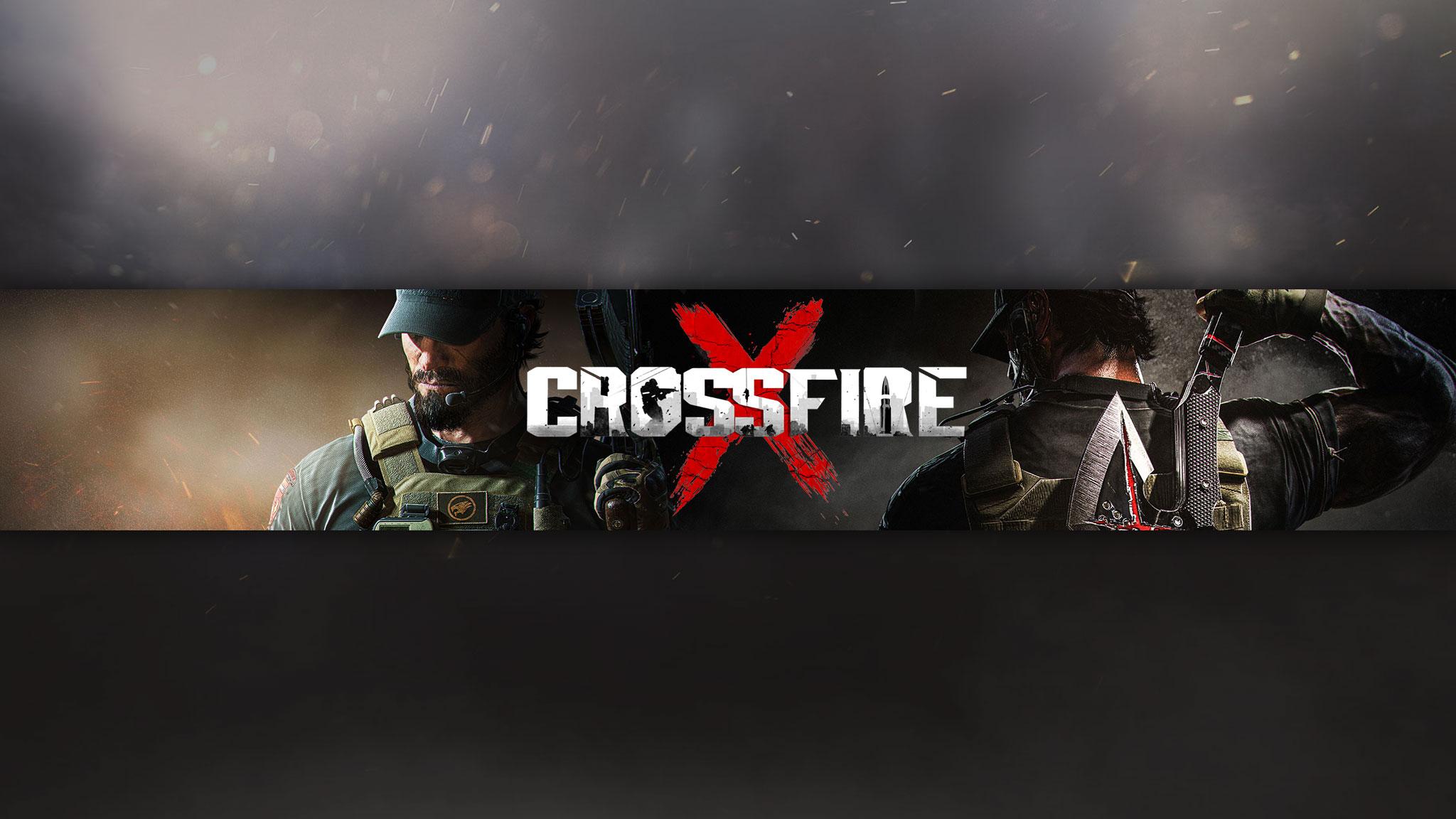 Картинка под игровые баннеры для ютуба 2048 1152 с логотипом CrossFire на фоне персонажей в военной форме.