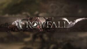 Картинка с текстом на фон для оформления канала на ютубе по игре Crowfall с логотипом и фантастическими персонажами в коричневом цвете.
