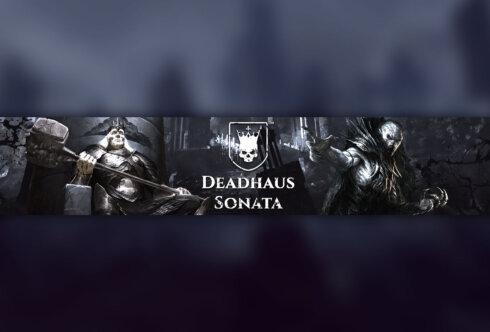 Картинка с текстом - готовая шапка для ютуба 2048x1152 по RPG Deadhaus Sonata с персонажами и логотипом игры на тёмном фоне.