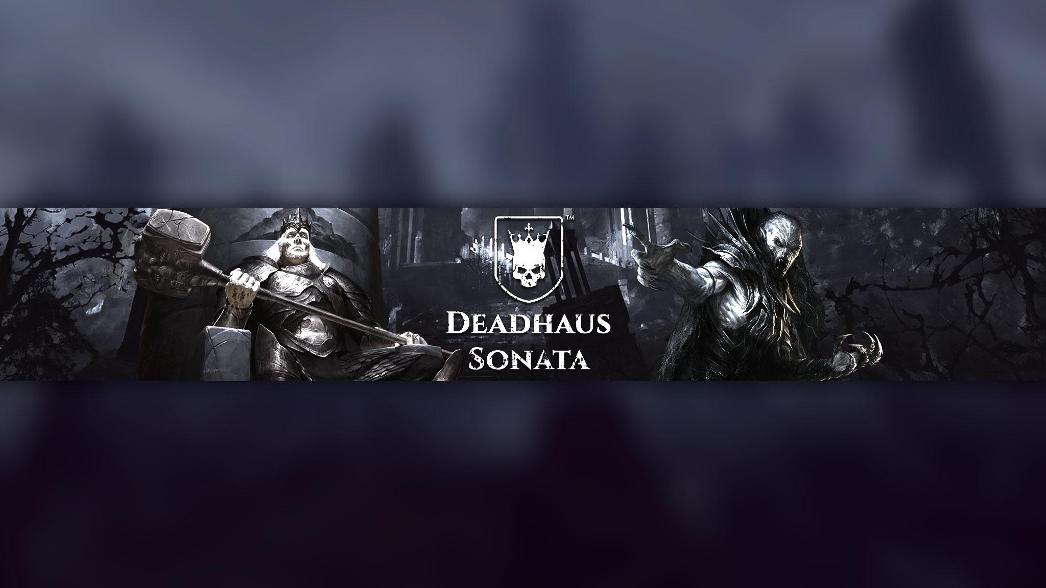 Картинка с текстом Deadhaus Sonata с персонажами игры на тёмном фоне.
