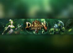 Картинка зелёного цвета - готовая шапка для ютуба 2048x1152 с надписью Dragon Knight и персонажами игры на фоне природы.