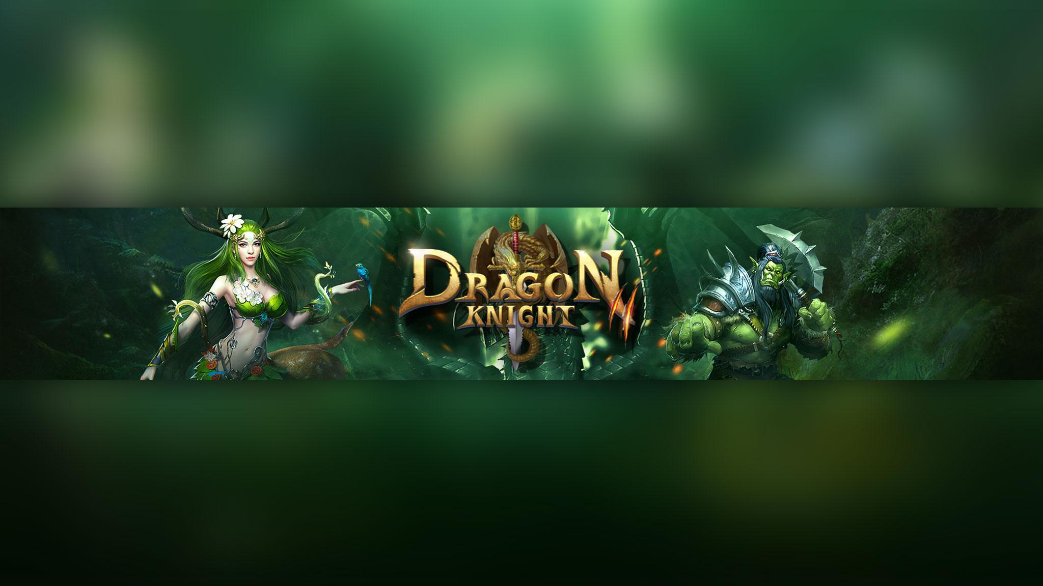 Картинка зелёного цвета с надписью Dragon Knight и персонажами игры на фоне природы.