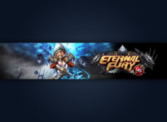 Картинка с текстом для шапки для ютуба 2048x1152 по игре Eternal Fury с персонажем на тёмном фоне.