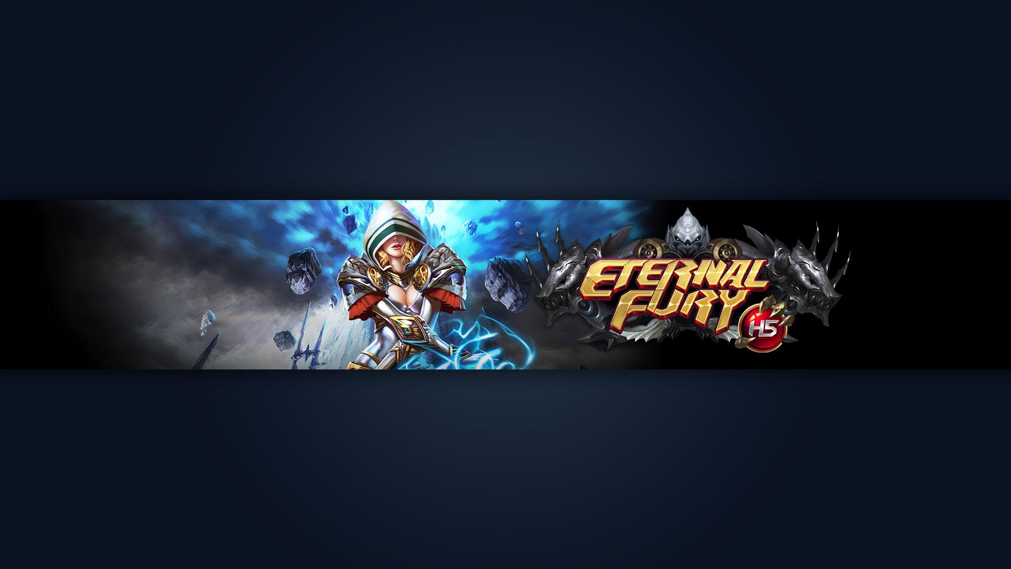 Картинка с текстом по игре Eternal Fury с персонажем на тёмном фоне.