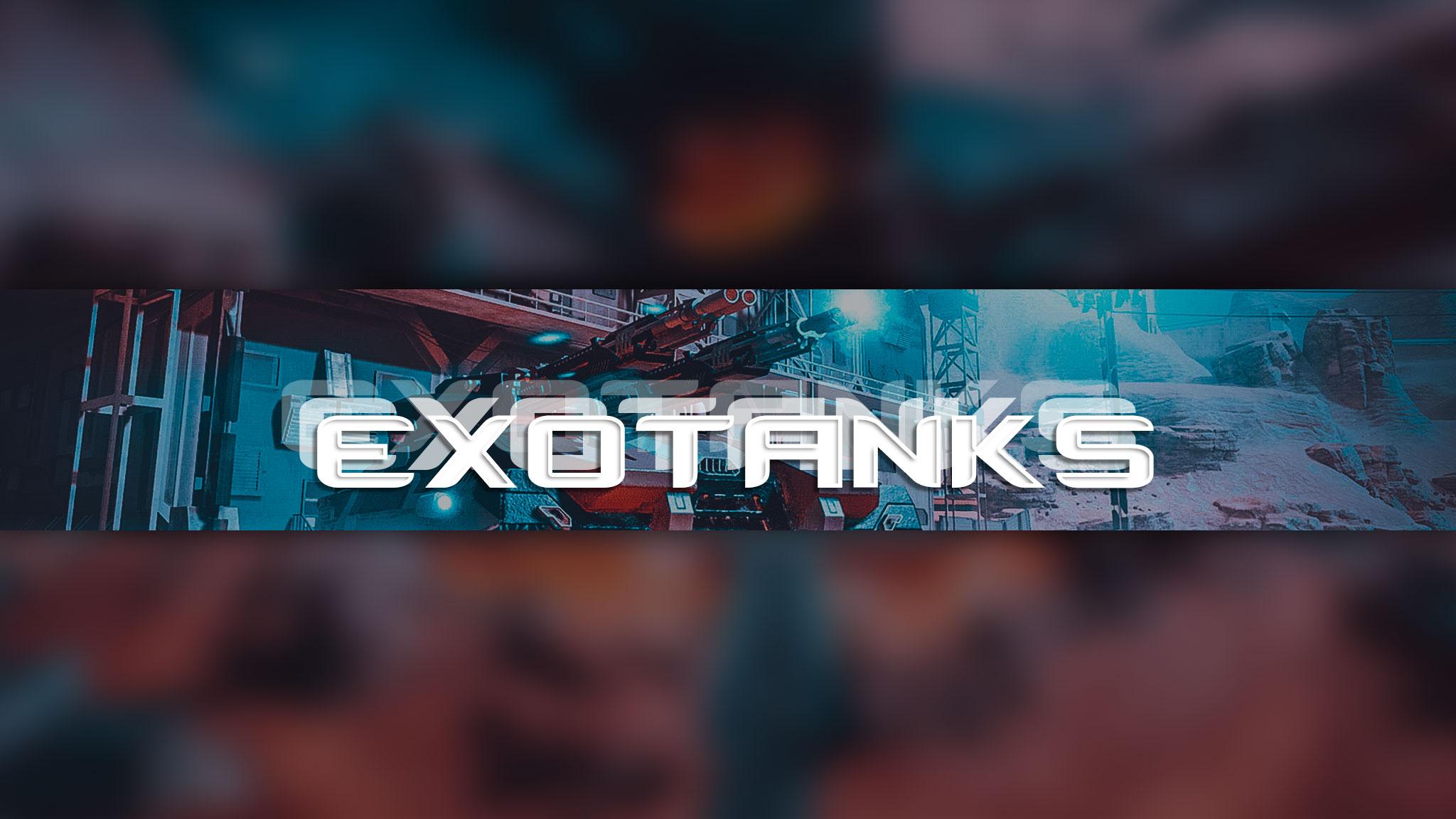 Картинка с текстом - готовая шапка для YouTube по игре ExoTanks на фоне космического пейзажа с пушкой.