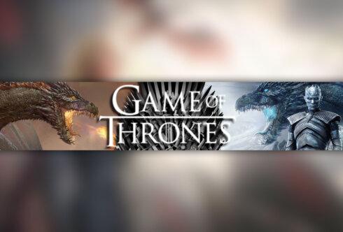 Картинка с текстом: баннер для ютуба 2048x1152 Game of Thrones по компьютерной игре - квесту с драконами, белым ходоком и железным троном.