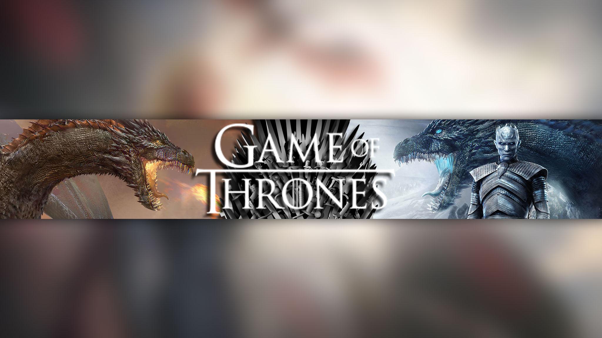 Баннер для ютуба Game of Thrones с драконами, белым ходоком и железным троном.