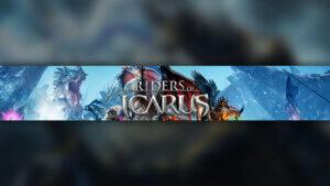 Картинка с текстом - шапка 2048x1152 для ютуба по игре Icarus с драконами на фоне голубого неба.