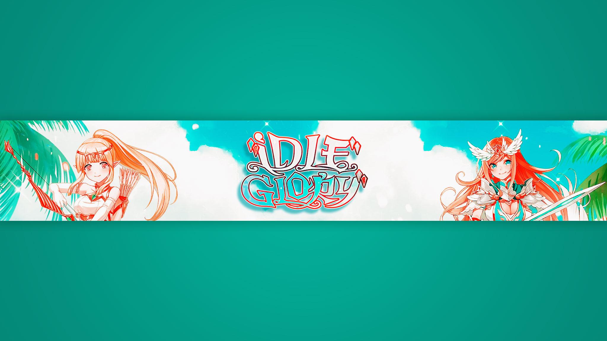 Картинка бирюзового цвета на шапки для ютуба 2048x1152 с аниме персонажами и надписью IDLE Glory.