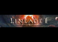 Картинка с текстом - тёмный баннер для ютуба 2048 1152 по компьютерной игре Lineage 2 с фантастическими персонажами.