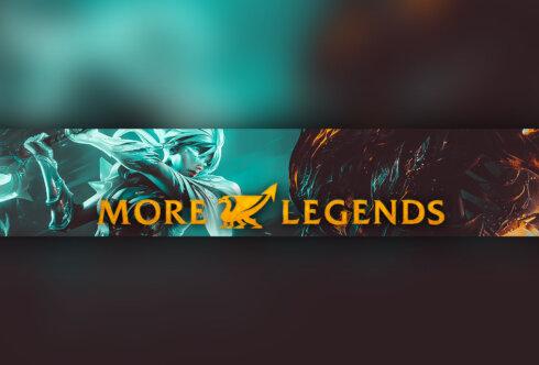 Картинка с текстом: готовая шапка для ютуба по игре More Legends на зелёно - янтарном фоне.