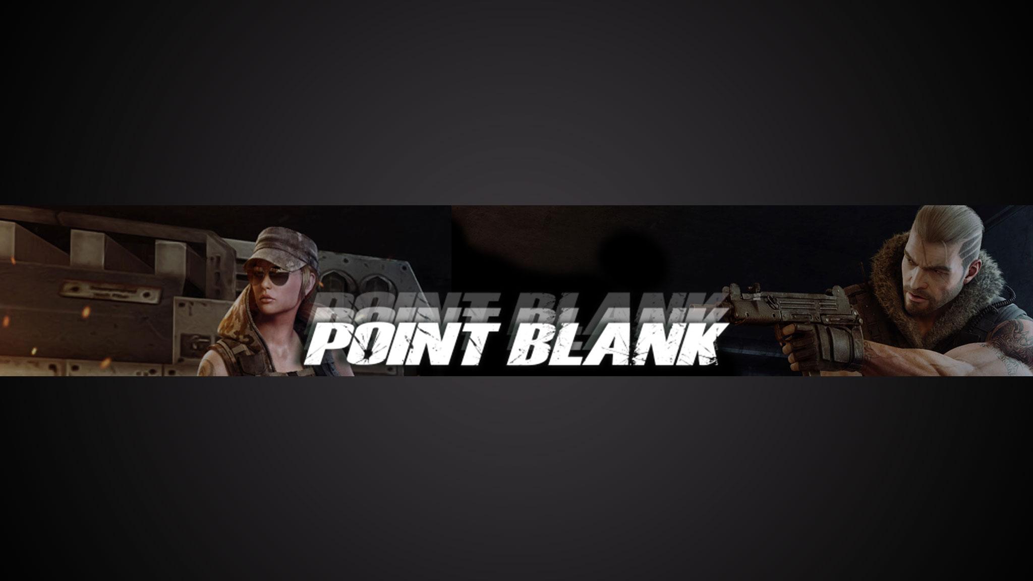 Картинка с текстом - готовая шапка для ютуба 2048x1152 по игре Point Blank с двумя персонажами на тёмном фоне.