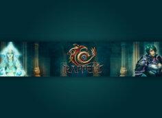 Картинка сине - зелёного фона шапки для ютуба 2048x1152 с вымышленными персонажами Rappelz MMORPG игры.