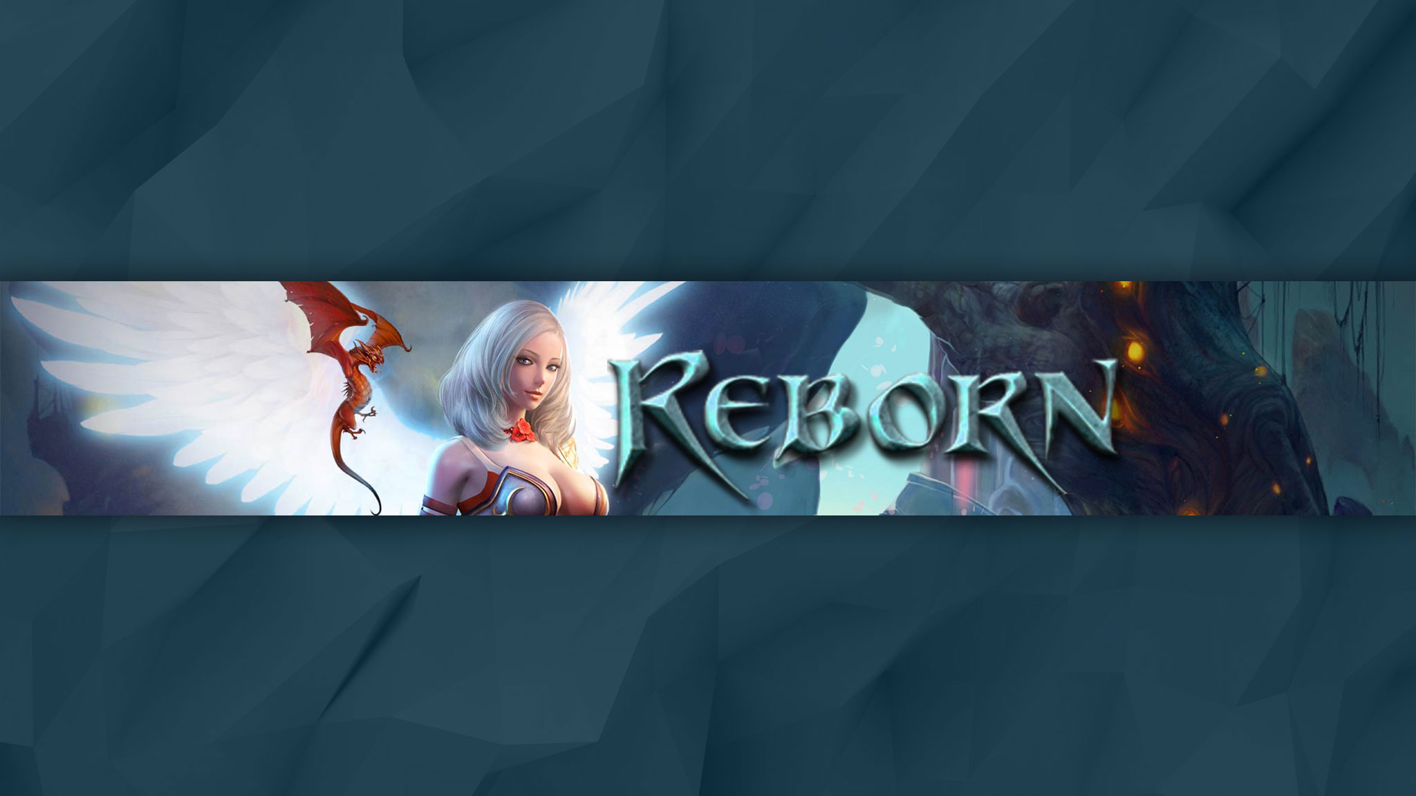 Картинка с текстом - шапка 2048x1152 для ютуба по MMORPG Reborn Online с аниме персонажем на синем фоне.