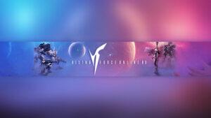 Картинка с пурпурным свечением - обложка для ютуб канала 2048 1152 по космической игре RF Online с текстом на фоне фантастических персонажей.