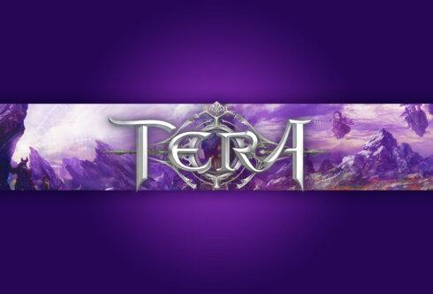 Картинка с текстом - шапка для ютуба игровая фиолетового цвета с названием TERA на фоне космического пейзажа с пурпурным небом и горами.