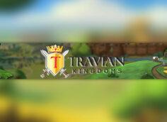 Картинка жёлто - зелёного цвета: шапка 2048x1152 для ютуба с названием и персонажами игры Travian Kingdoms.