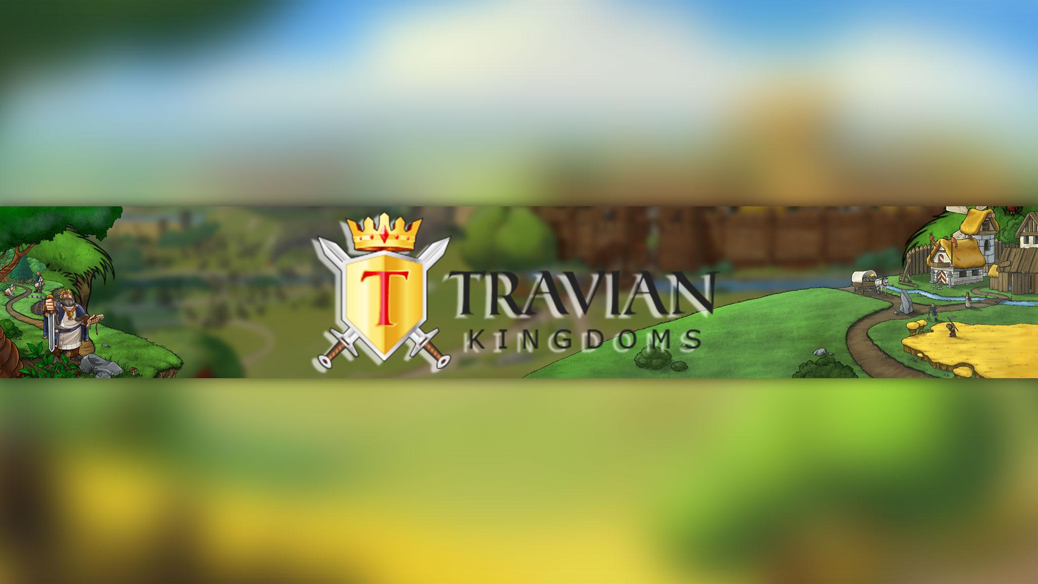 Картинка жёлто - зелёного цвета с названием и персонажами игры Travian Kingdoms.