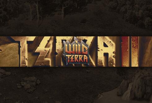 Картинка с текстом на фон для шапки для ютуба по компьютерной игре Wild Terra в стиле уличной графики коричневого цвета.